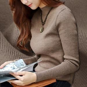 卡茗语 针织衫打底长袖秋冬套头韩版修身高弹半高领