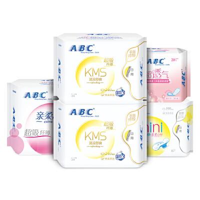 ABC蓝芯棉柔清爽透气日夜用卫生巾5包 共52片