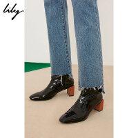Lily春新款女装商务黑色漆皮立体撞色粗跟短靴119110JZ402