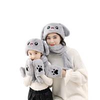 儿童围巾手套三件一体亲子宝宝保暖套装秋冬季围脖
