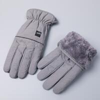 男士保暖手套冬季羽绒棉触摸屏户外骑行分指男冬