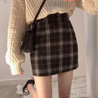 超火裙子女秋冬新款chic复古毛呢格子半身裙高腰A字裙短裙学生