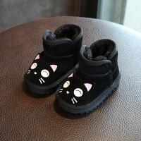 2017年冬季新款保暖男女童棉靴 1-3岁软底小童棉鞋真皮宝宝雪地靴