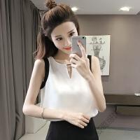 无袖雪纺衫女夏时尚仙宽松气质V领T恤上衣雪纺背心 乳白色