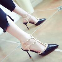 名媛风2019夏季新款一字扣T带尖头凉鞋女细跟网红高跟鞋铆钉女鞋夏季百搭鞋