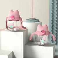 塑料杯 创意可爱萌趣猫儿童吸管杯2019新款卡通宝宝奶粉摇摇杯弹跳盖背袋水杯子