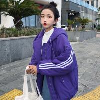 冬季女装韩版学院风条纹宽松连帽棉衣中长款夹棉加厚休闲外套