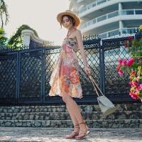 2018夏季韩版吊带波西米亚短裙修身沙滩裙碎花雪纺连衣裙 橘色
