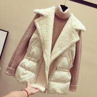 羊羔毛马甲女冬季2018新款韩版宽松中长款加厚羽绒棉背心马夹外套