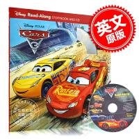 现货 英文原版 汽车总动员3 儿童有声故事书 含CD 迪士尼Disney 平装 Cars 3 Read-Along S