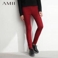 AMII[极简主义]冬款百搭修身抓绒橡筋裤头弹力打底裤长裤女11430583