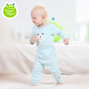 【每满100减50】Gagou Tagou婴幼儿男女宝宝纯棉素色两用裆裤子秋裤GT1601K3009