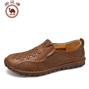 骆驼牌男鞋 春季新品手工缝制编织 休闲皮鞋男士套脚低帮鞋