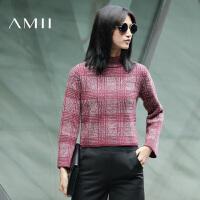 AMII[极简主义]秋冬新高领提花色格纹大码针织毛衣女11671800