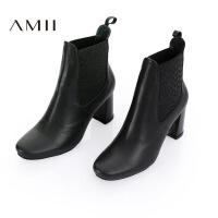 【品牌团 1件7折/2件5折】AMII[极简主义]冬新品简洁帅气切尔西牛皮粗高跟靴女11684638