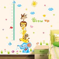 卡通儿童房装饰墙纸测量身高贴墙贴卧室幼儿园动物贴画自粘可移除