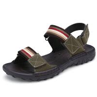 2019新款夏季男士真皮凉鞋透气运动休闲凉鞋男沙滩鞋软底露趾凉鞋 卡其 6621