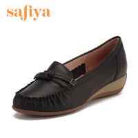 索菲娅(Safiya)牛皮革圆头坡跟休闲单鞋SF61111007 黑色