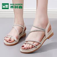 木林森夏新款女士气质时尚减龄细条带平底休闲凉鞋中空凉鞋女