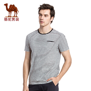 骆驼男装 夏季新款时尚青年圆领条纹小清新休闲短袖T恤衫男