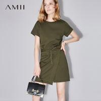 【AMII 超级品牌日】Amii[极简主义]2017夏装新款修身圆领绑带搭片短袖连衣裙11771669
