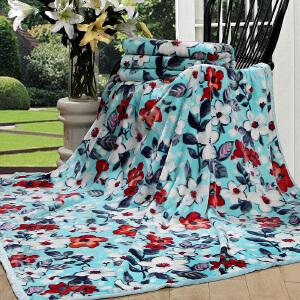 [当当自营]富安娜家纺圣之花家居毛毯休闲双人绒毯沙发盖毯子法兰绒毯 浪漫满屋 蓝色 180*200cm