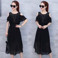 新款女装圆领露肩黑色裙子连衣裙女 韩版显瘦套装裙雪纺衫两件套长裙女