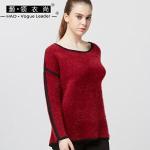 韩版宽松长袖t恤女套头衫胖MM圆领通勤细条纹针织打底衫上衣毛衣
