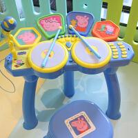 儿童爵士鼓敲打乐器小猪佩奇架子鼓 带麦克风玩具电子鼓