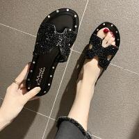 韩版夏季新款时尚外穿h拖鞋女水钻H带平底一字拖沙滩凉拖女 黑色 偏小一个码数