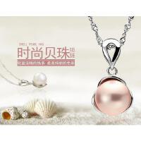 韩版时尚人工珍珠项链配饰品气质925银镶嵌女锁骨链