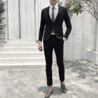 小西服套装男士西装修身韩版英伦风帅气外套职业正装新郎结婚礼服 黑色