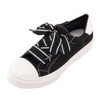 小白鞋女帆布鞋可爱板鞋系带宽带学生单鞋平底鞋女鞋