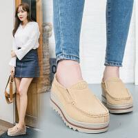 流行女鞋仙女风大码真皮松糕坡跟厚底套脚豆豆鞋反绒皮妈妈鞋夏季新款