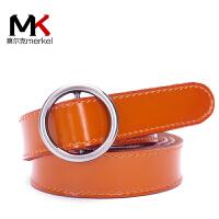 莫尔克(MERKEL)新款免打孔牛皮女士皮带红色裤袋本命年纯色简约时尚百搭女休闲腰带圆形扣