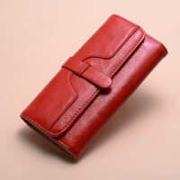 女生钱包长款 韩版女士钱包女长款时尚油蜡皮三折纯色复古女式钱夹