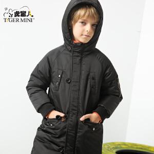 小虎宝儿男童装冬装儿童中长款加厚棉衣棉袄连帽2-3-4-5-6-7岁潮