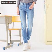 美特斯邦威牛仔长裤女士秋季时尚百搭修身小脚铅笔裤子学生韩版