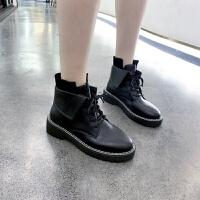 马丁靴女英伦风短靴粗跟中跟学生百搭系带拉链两穿2019新款机车靴