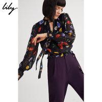 Lily春新款女装OL摩登花型印花套头衫雪纺衫118400C8608