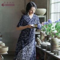 生活在左蓝印花布系列春夏新款原创设计师蓝染连衣裙文艺复古长裙