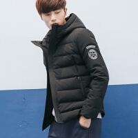 [2.5折价179.6元]唐狮羽绒服男短款连帽青少年学生韩版冬装新款加厚袖标外套潮