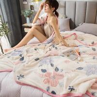 夏季雪花毯子床单人夏天空调办公室午睡薄款毛巾小被子珊瑚绒毛毯 轻柔裸睡 可盖可垫200x230cm【已质检】
