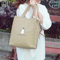 门扉 购物袋 创意简约帆布包单肩女学生包作业袋逛街超市环保购物袋书袋小手提袋家居日用整理收纳袋