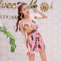 2018新款同款菠萝性感泳衣女大码连体裙式显瘦遮肚大胸钢托聚拢泳装 花色
