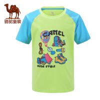 骆驼春夏女童圆领短袖T恤拼色印花T恤儿童休闲短T