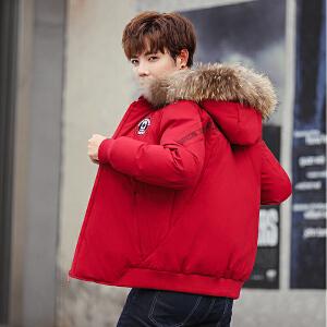 2019新款冬装羽绒服男士中长款脱卸立领羽绒服加厚大毛领时尚修身青年羽绒服