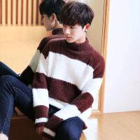 秋冬男士高领潮流毛衣半高领加厚韩版男装线衣宽松针织衫打底衫 7809 咖啡