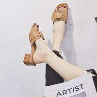 粗跟拖鞋女外穿时尚金属扣中跟一字拖2019夏季新款女士韩版凉拖鞋夏季百搭鞋