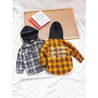 冬装儿童上衣格子衬衫男童小童冬宝宝保暖衬衣外套潮